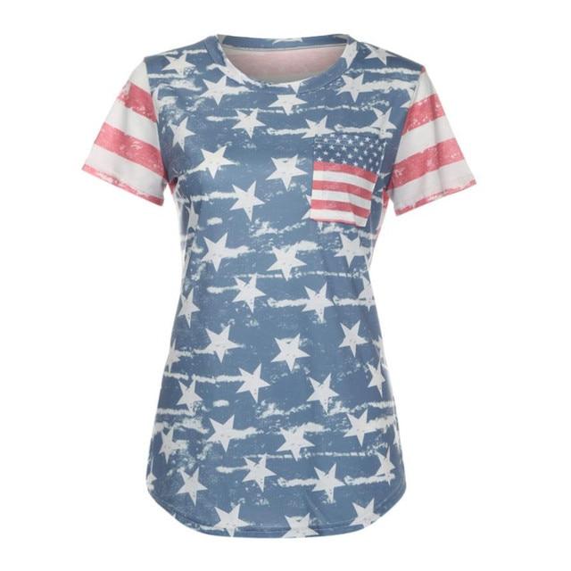 Urban Patriotic Fashion Fashion Print American Flag Women Shirt Short Sleeve Harajuku Shirt Women Clothes 2XL Loose Summer Tops Camiseta Mujer#9021 4