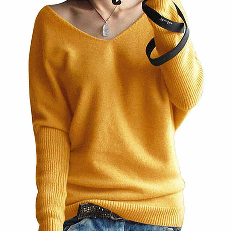 3fbae9430c4ae ... V neck pullover women 2018 batwing sleeve women s sweater knitted  pulover feminino manga longa inverno dropshipping ...