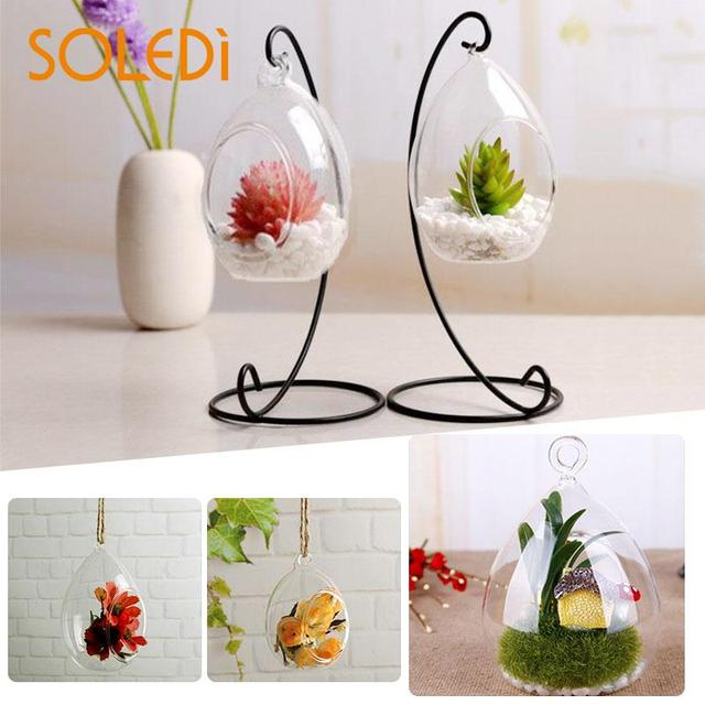 Hanging Glass Vase Ellipse Hanging Terrarium Glass Vase Ball Indoor Home Decor