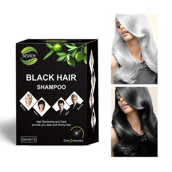 5 sztuk partia natychmiastowy szampon do czarnych włosów czarna farba do włosów sprawiają że szare i białe włosy kolorowe ciemnienie i Shinny w 5 minut makijaż tanie i dobre opinie sevich shampoo-yixihei 25ml hair color * 5 bags Kolor włosów 5bags in a lot Aqua Cetearyl Alcohol Propanediol Polydimethylsiloxane