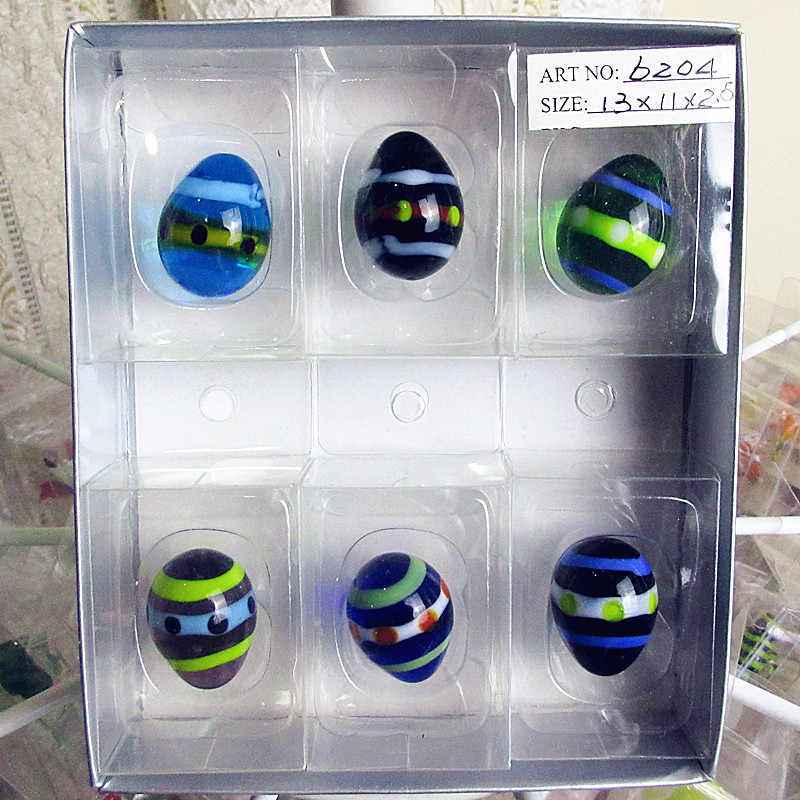 Wholesale custom hand made murano glass ornaments Home Furnishing Colorful Easter eggs Figurine garden landscape egg accessories