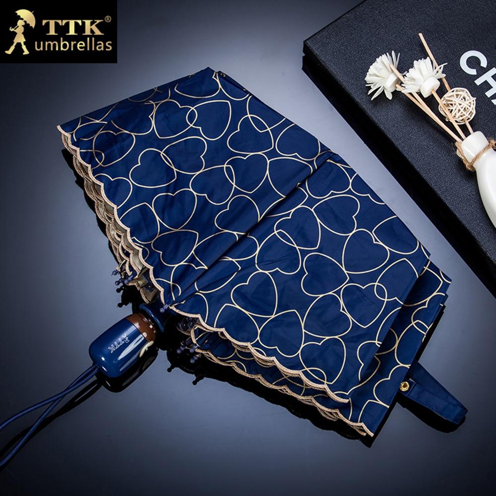 TTK Marca Automático Umbrella Chuva Mulheres Coração Impressão - Bens para a casa