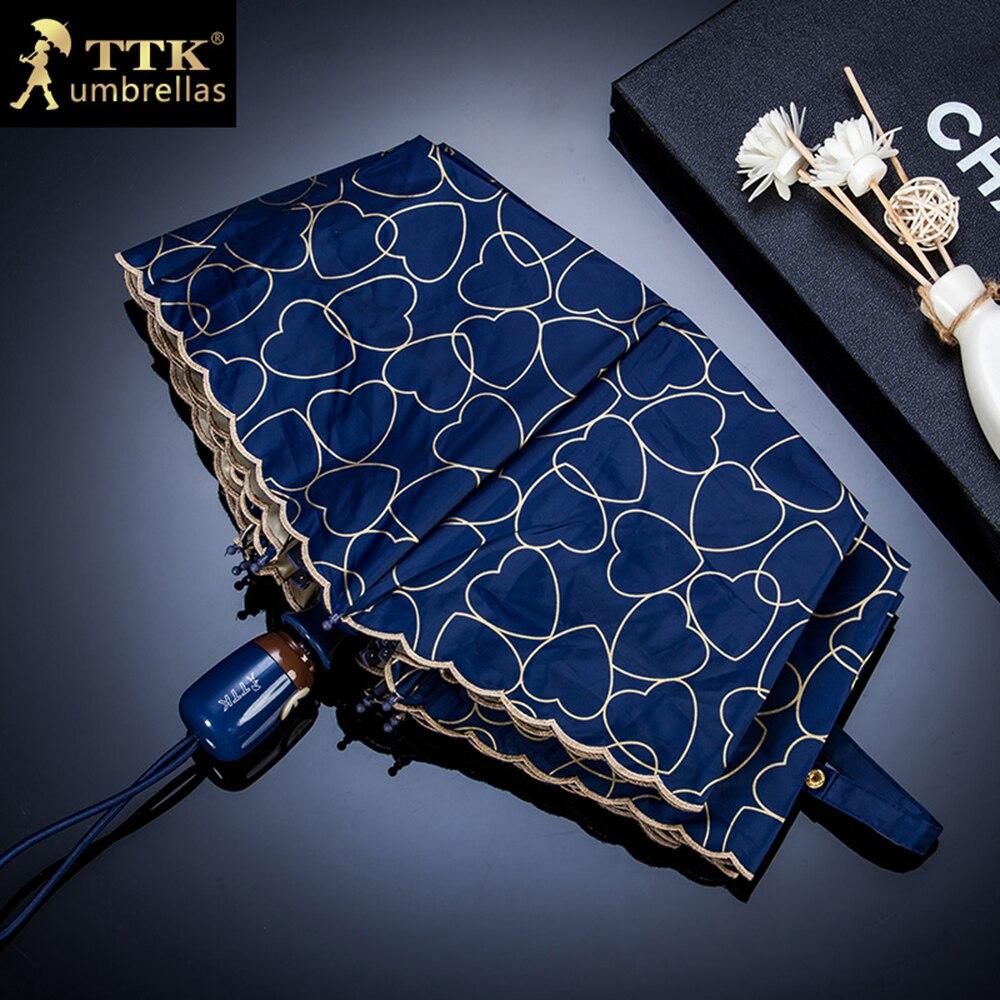 TTK מותג אוטומטי אמברלה גשם נשים הלב הדפס אנטי UV שלוש קיפול לחולצות מטריות גב תחתון רוח עמיד 4 צבעים