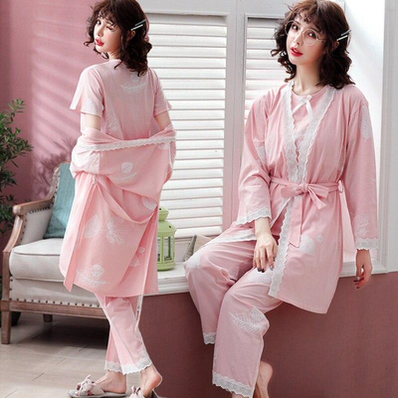 0127ee283b2 3PCS Set Cotton Maternity Nursing Pajamas Suit Pregnancy Nightwear Spring  Breastfeeding Sleepwear Clothes for Pregnant Women
