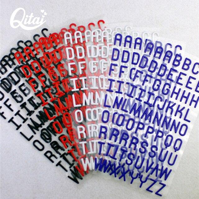 QITAI 8 hojas Mixed Color puffy letras cartulina alfabeto pegatinas ...
