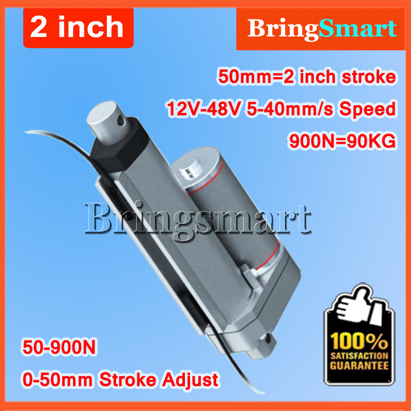 12V 48V DC 2 50mm Stroke Linear Actuator 900N Load 24V Tubular Motor Stroke Adjusted Control