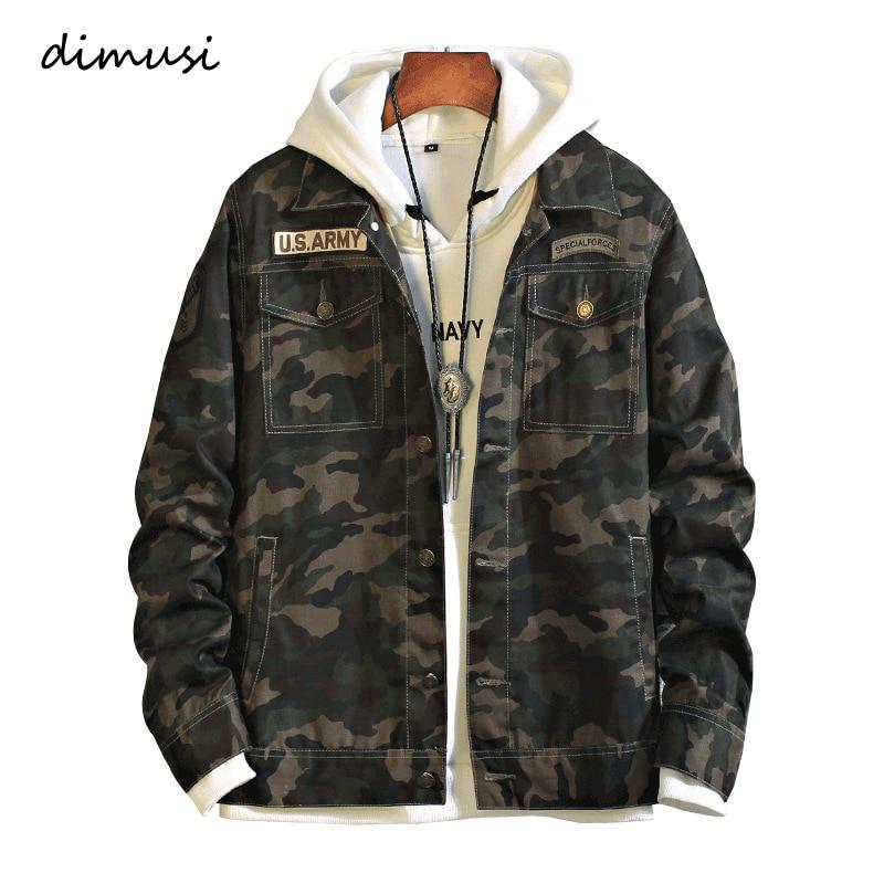 DIMUSI Men's Jackets Fashion Mens Anorak Hip Hop Street Wear Jeans Jackets Men Camouflage Denim Jackets  Male Cowboy Coats 4XL