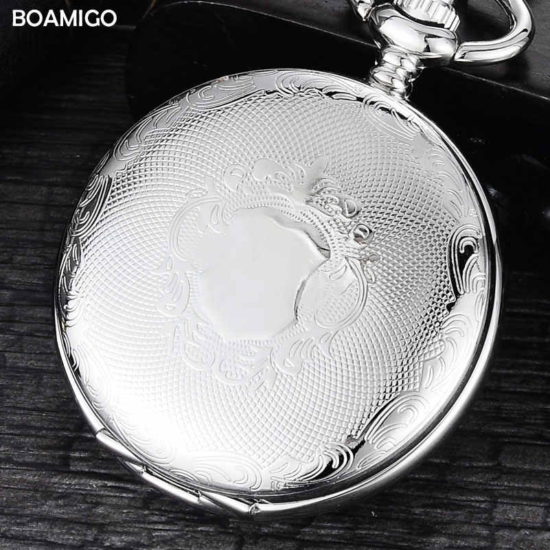 FOB men pocket watches luxury mechanical watch BOAMIGO brand skeleton roman number watches silver chain gift clock reloj hombre