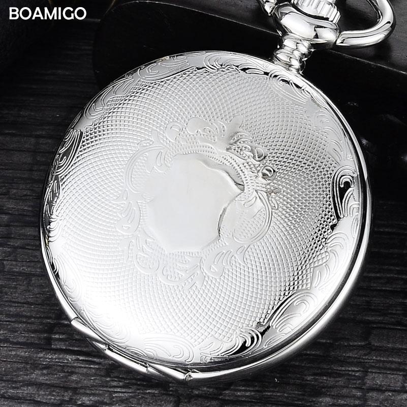 FOB Men Pocket Watches Luxury Mechanical Watch BOAMIGO Brand Skeleton Roman Number Watches Silver Chain Gift Clock Reloj Hombre