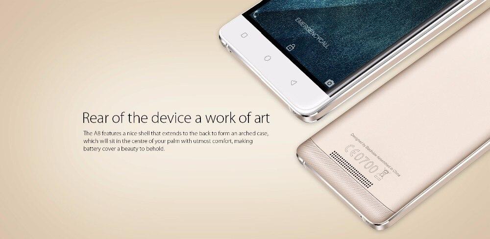 מקורי Blackview A8 טלפון נייד MTK6580 Quad core 5.0 inch HD IPS מסך הטלפון החכם אנדרואיד 5.1 1GB RAM 8GB 8MP 3G טלפון סלולרי
