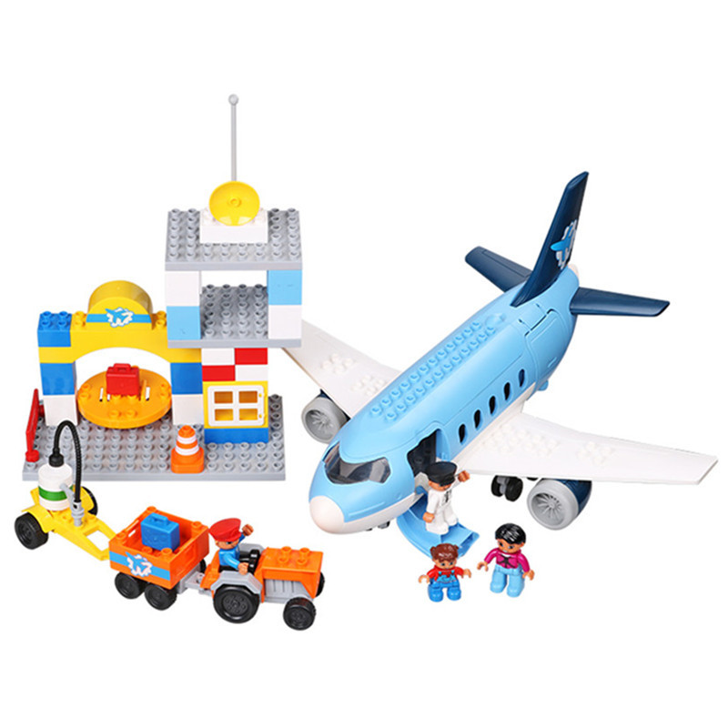 Large Airport Airbus Plane Figures Building Blocks City Set Compatible With DUPLO Enlighten Bricks Toys For Kids