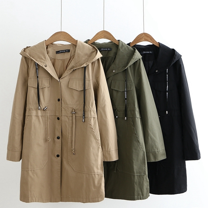 2019 Spring Autumn Hooded Trench Large Size Coat New Casual Show Thin Long Trench Lacing Waist Hooded Windbreaker