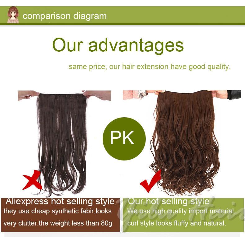 24 Long Synthetic Hair Extension Wavy Full Head Clip In Hair