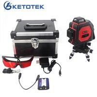KETOTEK 3D 12 Lines Laser Levels Self Leveling 360 Horizontal And Vertical Cross Super Powerful Red