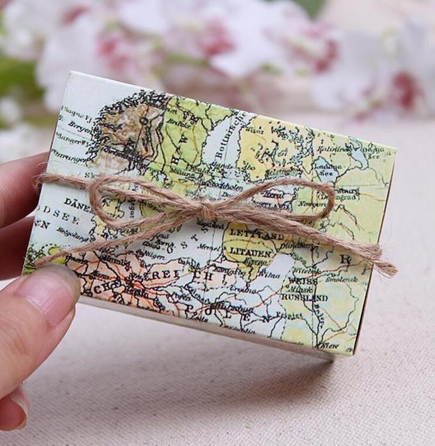 Qi 100pcslot vintage wedding candy box kraft paper world map gift qi 100pcslot vintage wedding candy box kraft paper world map gift bag for wedding gumiabroncs Image collections