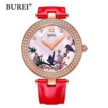 Top Fashion Brand BUREI Woman Watches Floral Design Diamond Case Japanese Movement Waterproof Watch Women Day Relogio Feminino