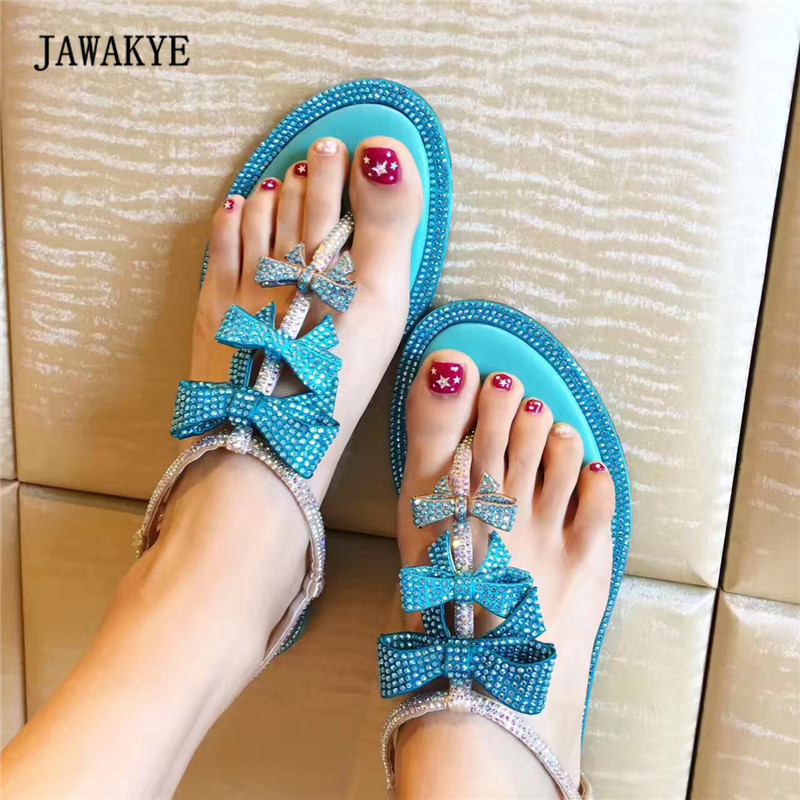 Fashion Rhinestone Crystal Gladiator Sandals Woman Flip Flops Open Toe Bow Butterfly T Ankle Strap Flat Party Shoes Women new 2018 women open toe flip flops fashion ankle strap gladiator sandals women big size 34 43 ladies casual flat rome sandals