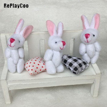"100Pcs/Lot Mini Stuffed Plush Toys Little white rabbit with red nose Bunny rabbit Soft Toys 6cm/2.4"" Small Pendant Gifts GMR080"