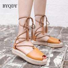 BYQDY Summer Beach Women Shoes Espadrilles Gladiator Sandals Open Peep Toe Bandage Cut Out Hemp Straw Rope Platform Flats