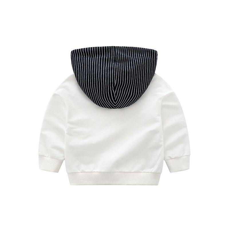 COOTELILI 80-130cm Fashion Striped Baby Girls Clothes Baby Boys Hoodies Kids Cool Hip-Hop Sweatshirt Children Tops Black White (14)