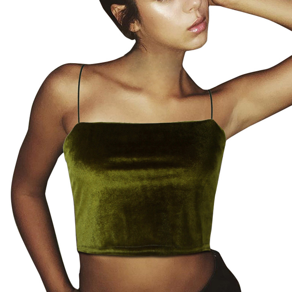 New Fashion Womens Sexy Off Shoulder Velvet Vest   Tank     Tops   Ladies Vintage Solid Color Short Camisole Sport Cropped Green T-Shirt