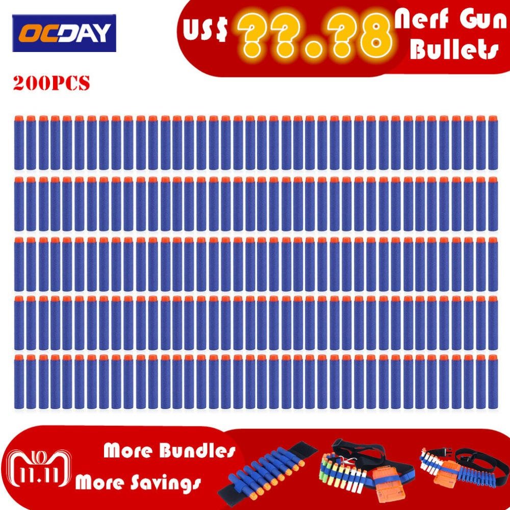 50/100/200 Pcs Light Eva Bullet Darts For Nerf Belt Soft Gun Mask Wear Goggle Bullet Darts Elite Series Blasters Kid For Toy Gun