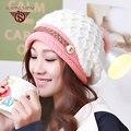 100% Новый Высококачественный Зима Снег Трикотажные Шапки Шерстяная шапочка Женщин Лыжах Теплые Шапочки Волосы Мяч Ухо Ветрозащитный Шляпу WF027