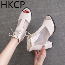 HKCP 2019 summer new Korean version of high-heeled women's shoes hollow mesh fish mouth shoes chunky sandals for women C206 2017 summer korean version women wedges platform high heeled fashion network yarn fish mouth sandals female