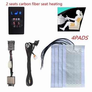 12V 2 Sitze 4 Pads Universal-Carbon Faser Beheizte Sitz heizung Heizung Pads 2 Zifferblatt 5 Ebene Schalter Winter wärmer Sitzbezüge