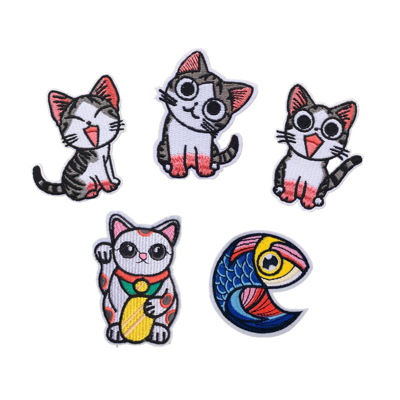 Exquisite Lucky Cat Kitty Combination Computer Embroidery Cloth Sticker DIY Decoration Fish Cloth Sticker D-021