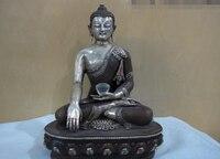 150624 S1826 11 Tibet classical Copper Silver gilt Sakyamuni Buddha Hold crystal bowl Statue