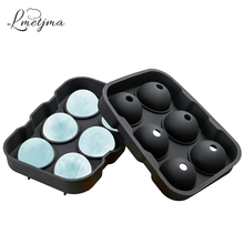 LMETJMA Party Bar Black Round Silicone Ice Mold for Whiskey Cocktail Frozen Silicone 6 Ice Cubes Tray Ice Maker Mold KC0521-5