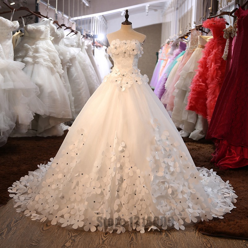 Bridal Beaded Sequin A Line Lace Wedding Dress 2016