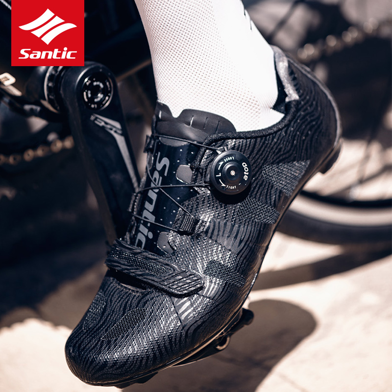 Santic Road Bike Shoes Mens Pro Team Racing Cycling Shoes TPU + Nylon Breathable Comfortable Self-locking Road Bicycle Shoes