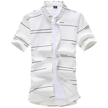 Yimsutsfor good quality striped shirt men fashion summer mens short sleeve casual white cotton