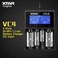XTAR originais VC4 4 Slots Universal USB Carregador de Bateria Inteligente com Display LCD para Li-ion 18650 26650 32650 Bateria Ni-MH