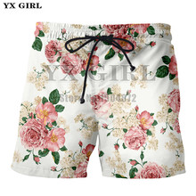 YX Girl 2018 Summer Mens 3d Short Rose Floral Casual Shorts For Men/Women Flower Beach High Quality Polyester