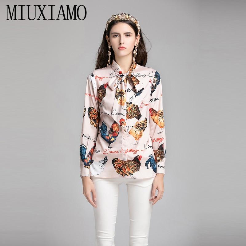 MIUXIMAO haute qualité 2019 printemps et été nouveau Style décontracté col rabattu manches complètes coq imprimer Blouse femmes vestido