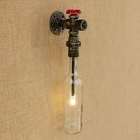 Vintage wandlamp Glazen kap ijzer roest Badkamer wandlamp met G4 licht slaapkamer bed licht foyer studie decoratie Blaker