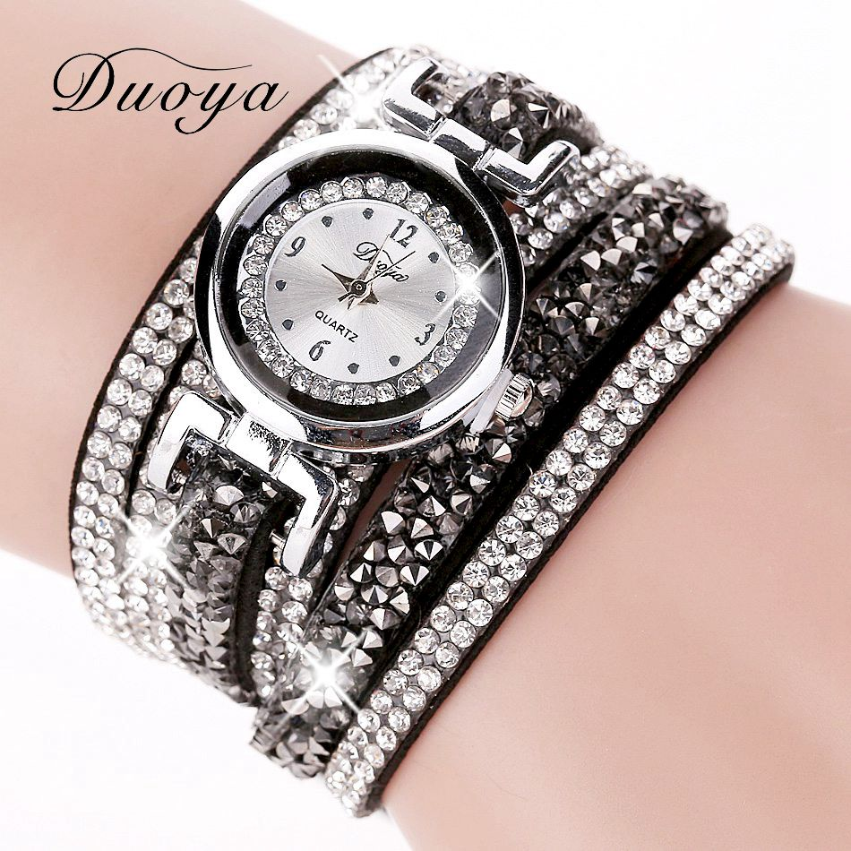 Duoya new brand fashion women gold long bracelet watch crystal stone quartz wristwatch rivet for Crystal ladies watch