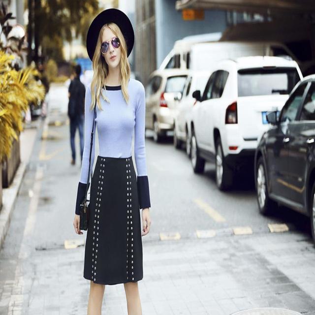2017 spring autumn women clothing sets patchwork knitted Tops + rivet slit skirts 2pieces Female fashion elegant slim suit