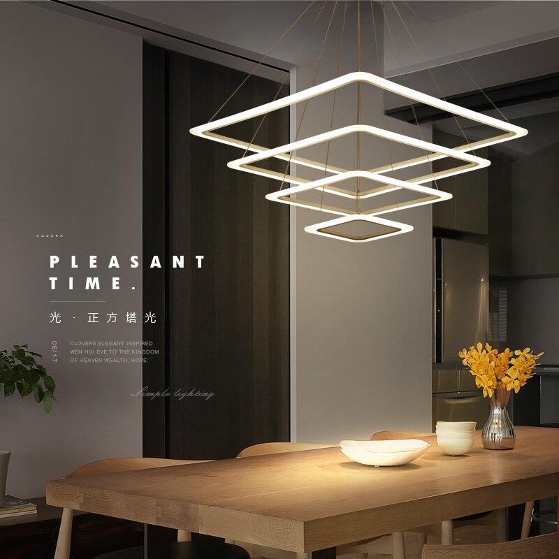 Nordic postmodern chandelier LED living room lights creative simple aluminum ring bedroom restaurant Lighting fixtures