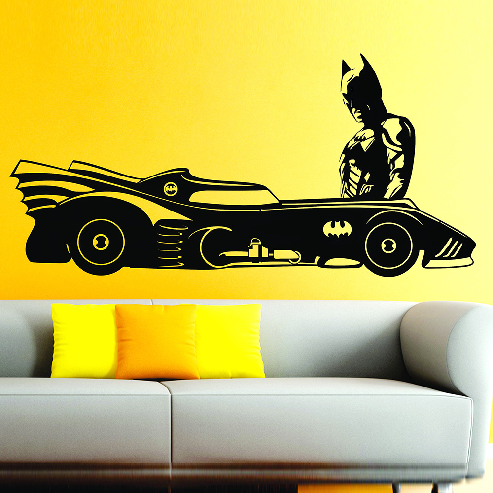 Batmobile & Batman Superhero Car DC Comic Vinyl Wall Decal For Kids ...