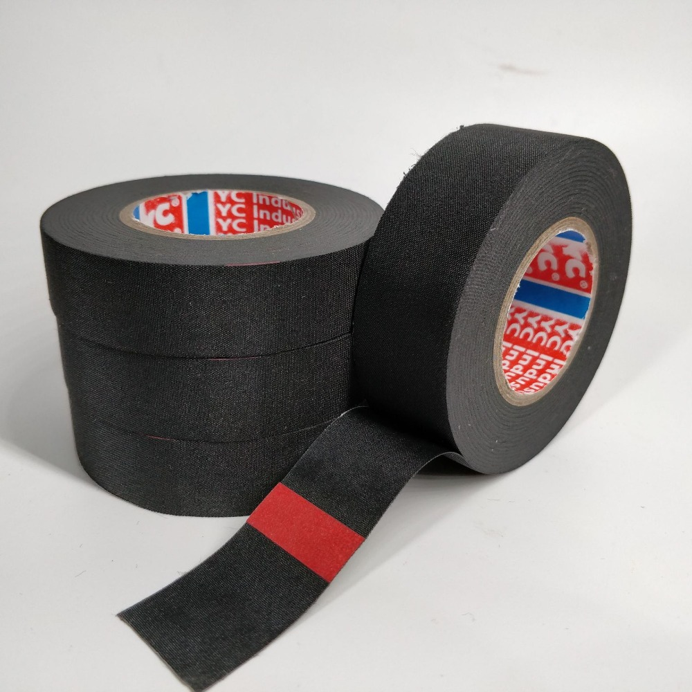 19x15m Tesa Type Adhesive Cloth Tape Heat-resistant Wiring Harness Tape Looms Cloth Fabric Tape Adhesive Cable Protection