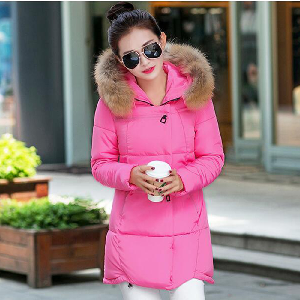 Hot 2016 winter Women Fashion Fur collar thick hooded warm cloak down jacket women coat jackets Female Overcoat Plus size S-4XL