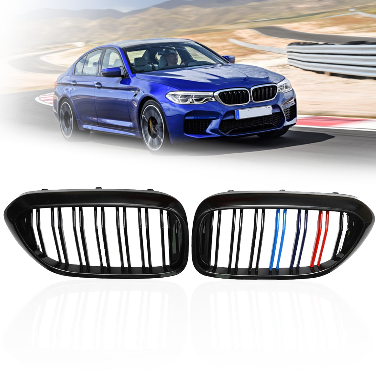 все цены на Pair Gloss Black M Color/Gloss Black Front Dual Slats Grilles Car styling Front Racing Grille For BMW 5 Series G30 G38 2017 онлайн
