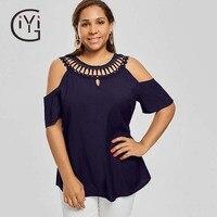 GIYI Plus Size 5XL Sexy Cold Shoulder Floral Lace Crochet Blouse Shirt Women Clothes Summer 2017 Hollow Out Tops Big Size Blusas
