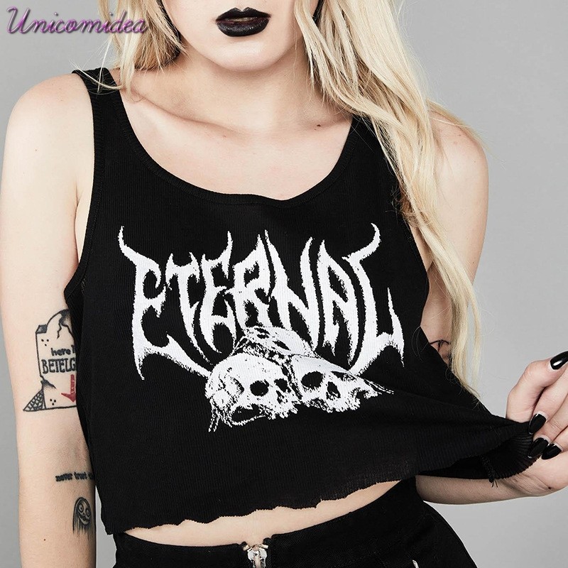 Gothic Dark Vintage Grunge Black Gothic Crop   Top   Letter Skull Print Punk Sleeveless   Tank     Top   Fashion Harajuku Casual Navel Camis