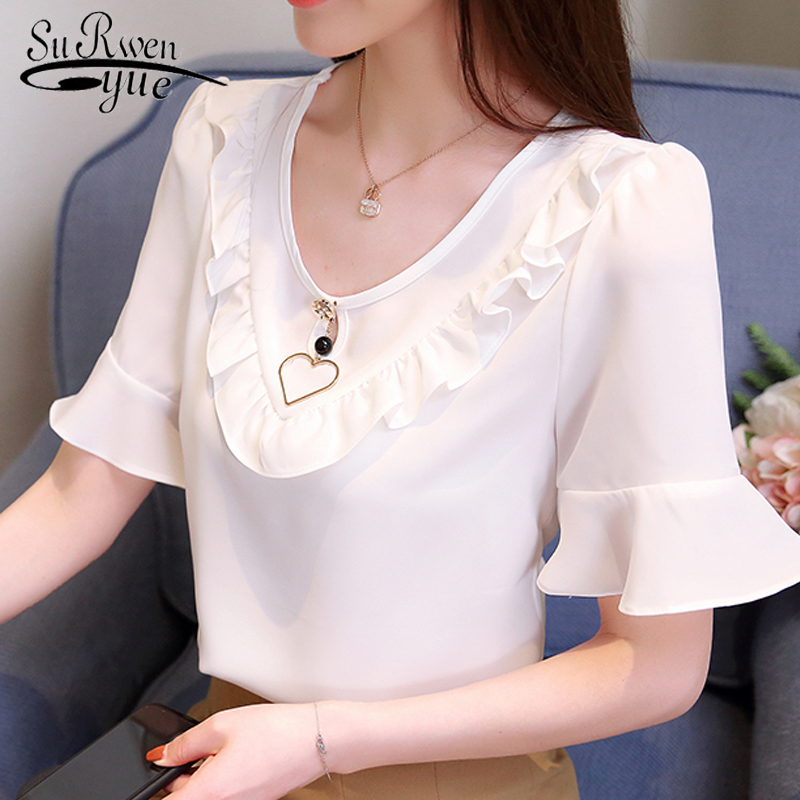2018 new short sleeve womens tops fashion summer chiffon women shirt blouse sweet white beading women clothing blusas 0048 30 ...