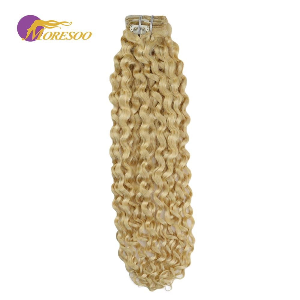 Moresoo vague naturelle eau de javel Blonde #613 Clip en réel Remy Extension de cheveux humains brésilien pince à cheveux en Extension pleine tête 100G